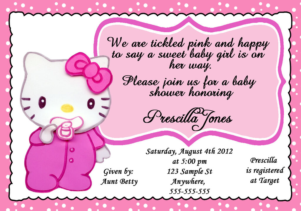 personalized baby hello kitty baby shower girl invitation