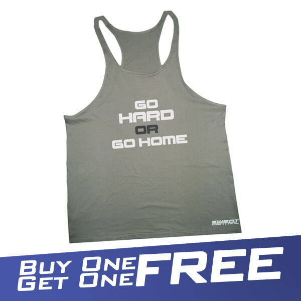 OR GO HOME SINGLET  Y BACK RACER STRING GYM MUSCLE T GOLD BROWN SHIRT