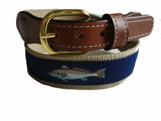 Mens Embroidered Leather Canvas Fishing Belt /> Sailfish Sail Fish /< select size
