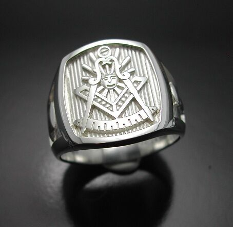 PERSONALIZED Past Master #008P Sterling Silver Masonic Ring Polished