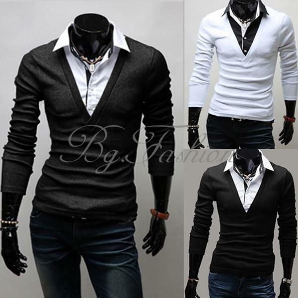 New Mens Luxury Casual Stylish Slim Fit Shirts V neck with collar 3