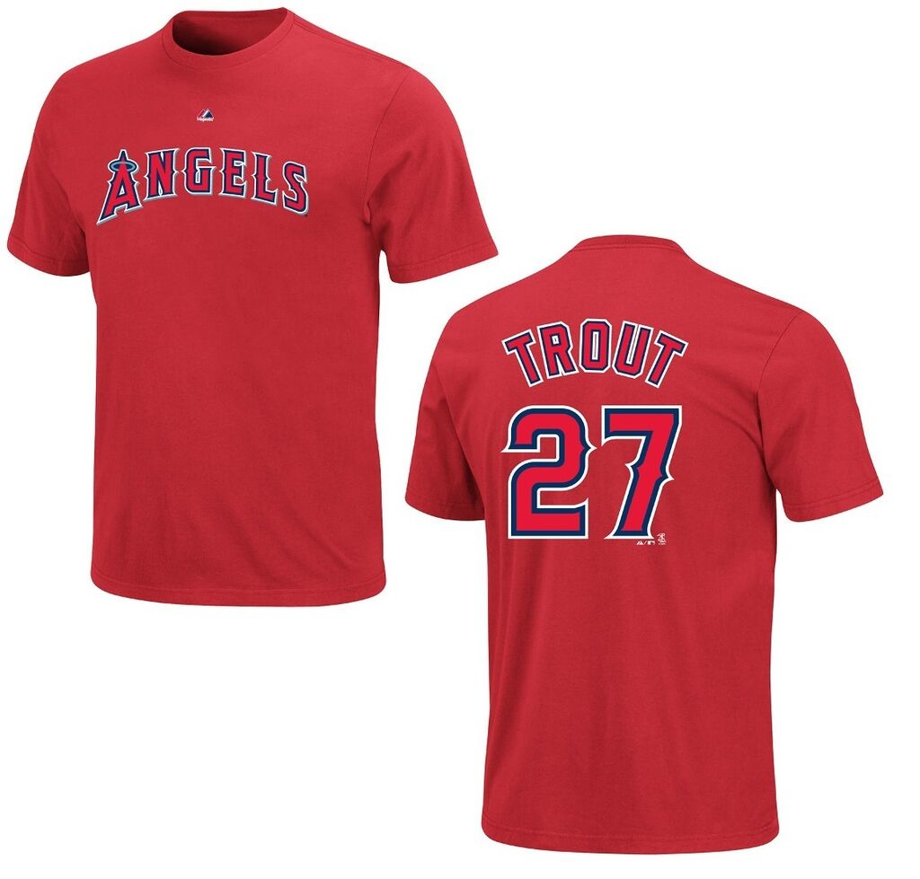 MIKE TROUT ANGELS YOUTH AUTHENTIC NAME AND NUMBER JERSEY SHIRT NEW