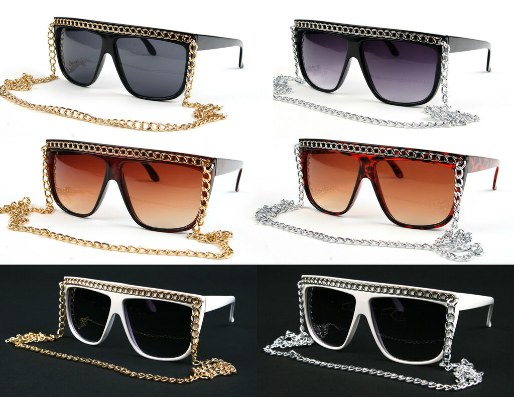 Snooki Lady Gaga Fashion Sunglasses with Gold Silver Chain P1338