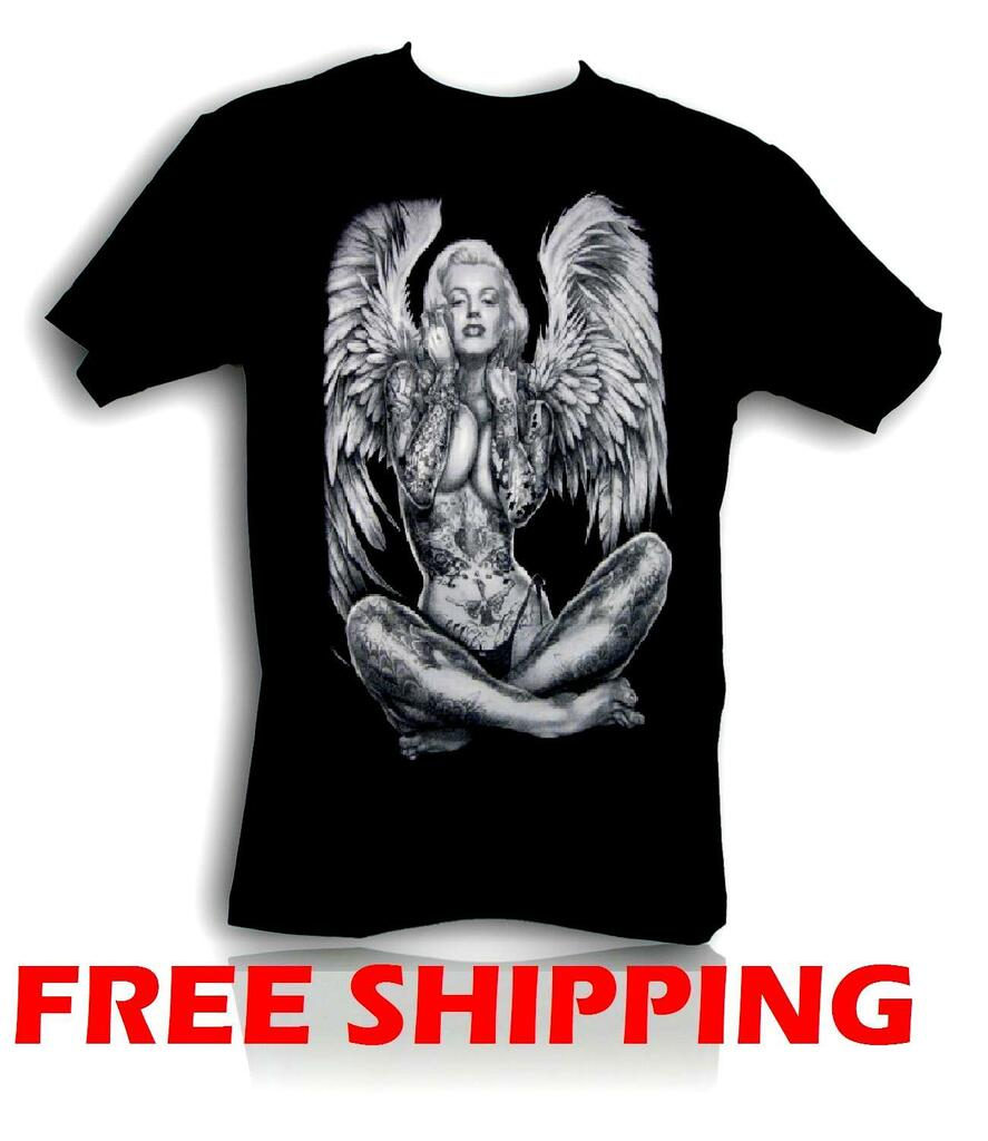 NEW MARILYN MONROE ANGEL WING T Shirt Tattoo Skull Grafitti Mens Tee