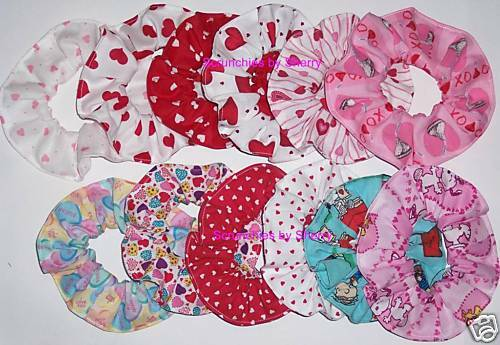 Valentines Day Hearts Fabric Hair Scrunchies You Choose