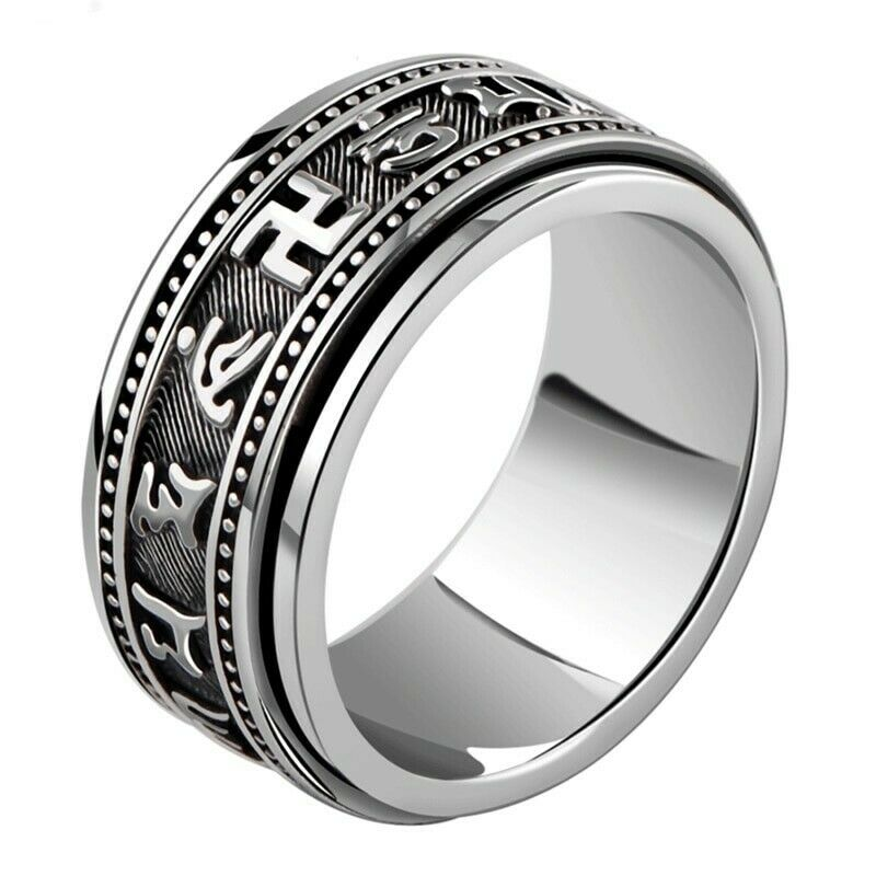 Men women 925 sterling silver ring vintage six words mantra buddhism signet gift 