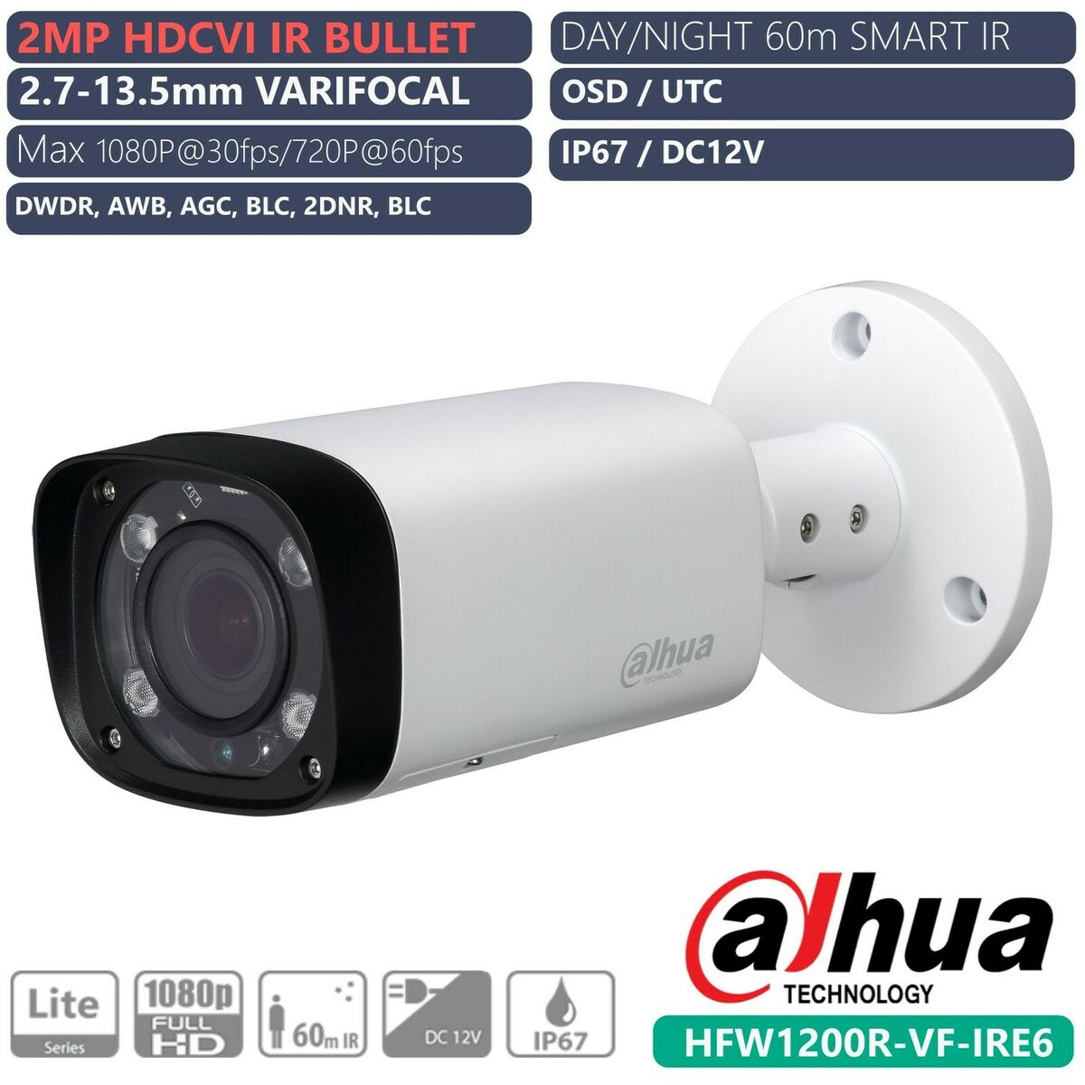 Dahua telecamera bullet 2mp cvi varifocal 24 ir led 2 7 13 5mm hfw1200r vf ip67 