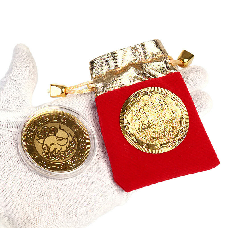 Gold pig commemorative coin year of pig coins new year gift with drawstring b pq Prezzo: € 1,06