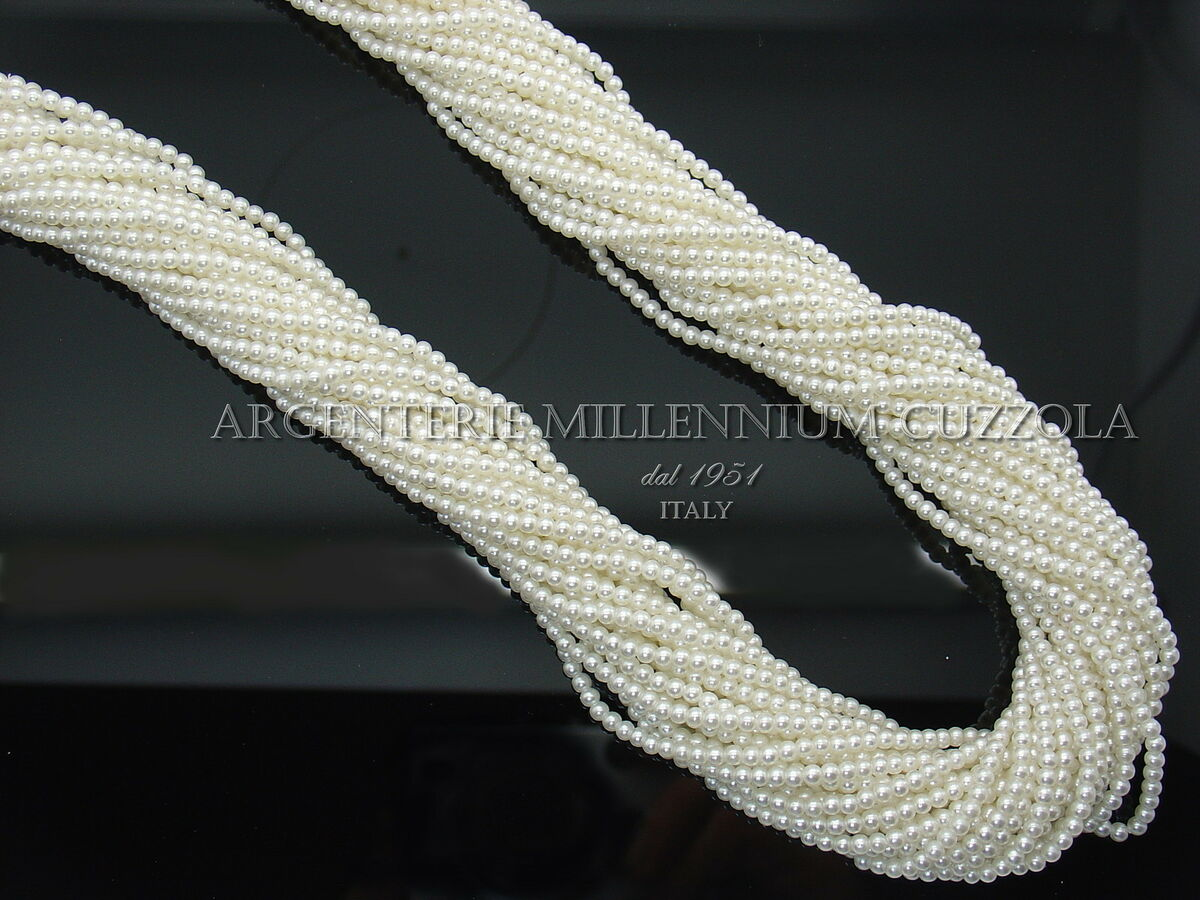 Perle filo 560 perline cerate vetro infilate 3 mm 150 cm collana made in japan 