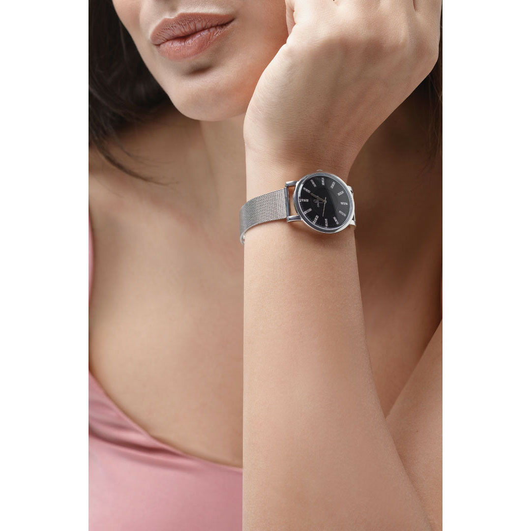 Orologi ops objects posh lux crystal argento e rose donna lady solo tempo 