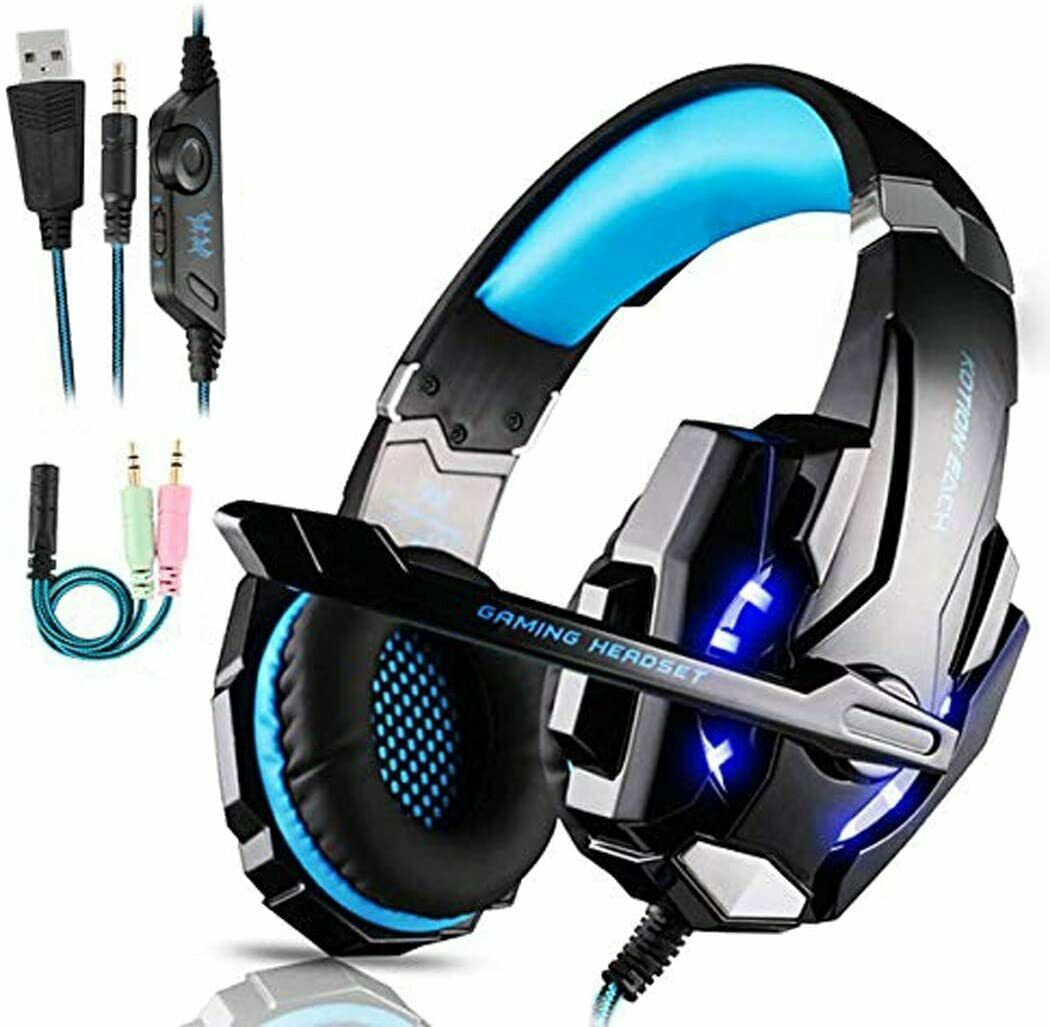 Cuffie da gaming kingtop kg2000 per ps4 con regolatore luci led e microfono 