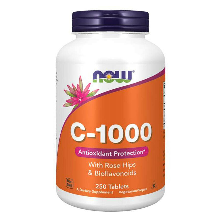 Now foods vitamin c rose hips bioflavonoidi 1000mg 250 vtabs rosa canina 