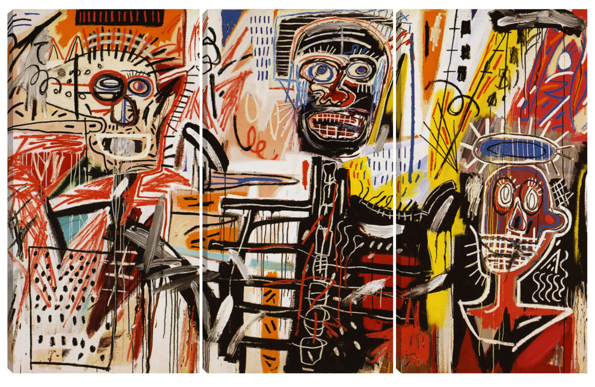 Quadro moderno astratto art arredamento 80x120 basquiat tela abstract graffiti 