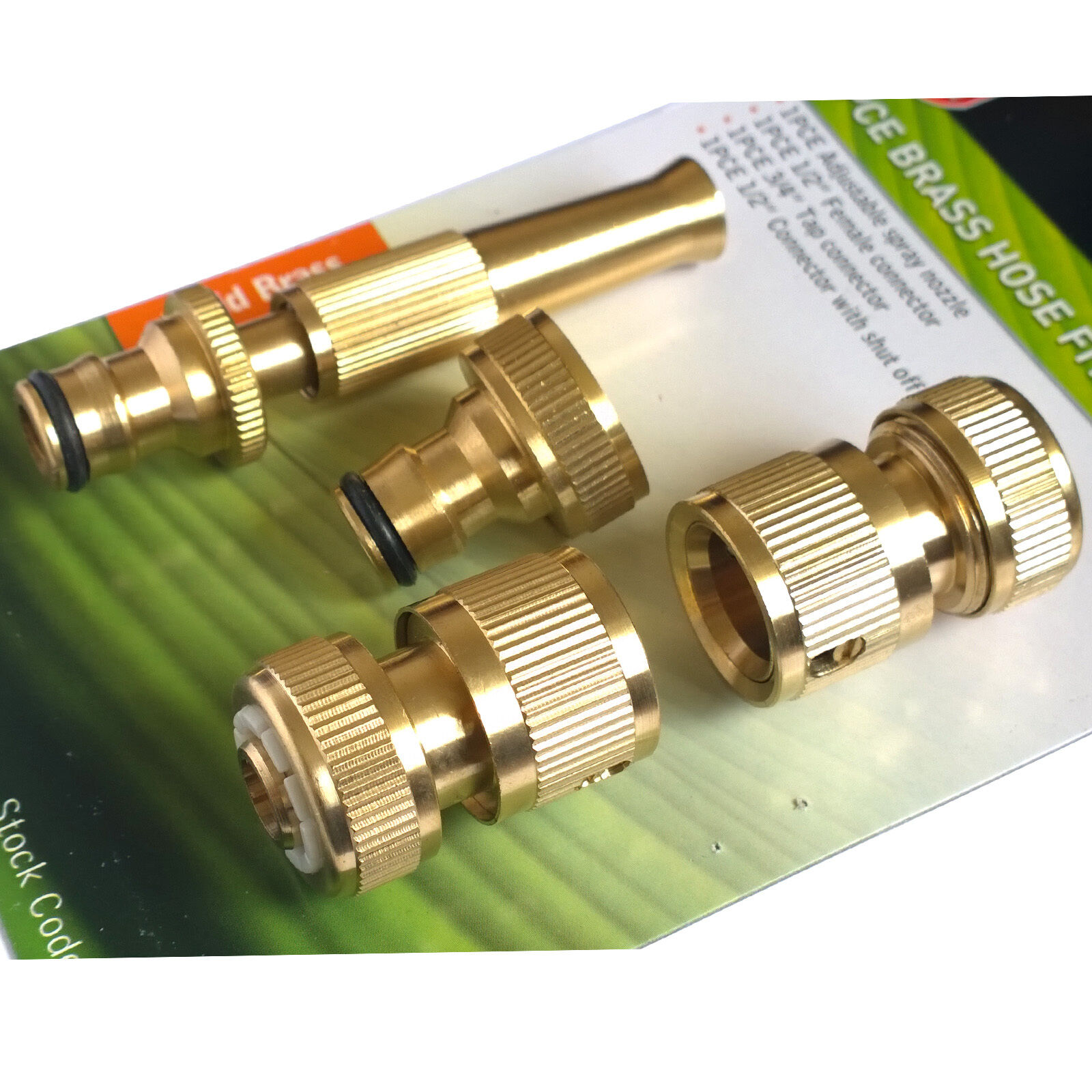 Brass hose pipe fitting set garden tap hosepipe quick