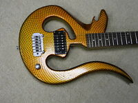 Snake Viper Shaped Electric Guitar Gold with OVERLORD of Music Bridge