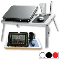 E-Stand Laptop Table w/ Built-in Cooling Fans, Mouse Pad & Cup Holder (3 colors)