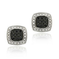 925 Sterling Silver 1/5ct Black Diamond Square Earrings