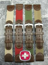 NEW 19mm WENGER SWISS ARMY Leather Nylon Strap watch Band Brown