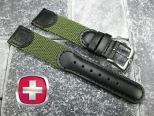 New Wenger Swiss Black Leather Army Green Nylon Strap Watch Band Army 20 19 18