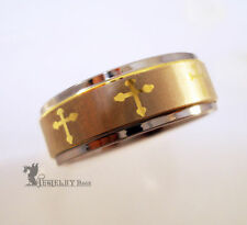 TUNGSTEN RING SILVER AND GOLD TONE CROSS DESIGN 8MM