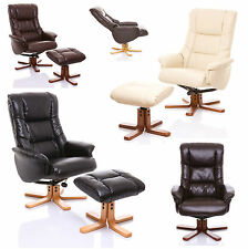 The Shanghai - Quality Bonded Leather Recliner Swivel Chair with Footstool