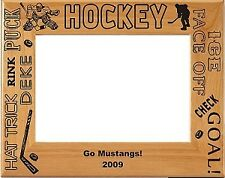 Personalized laser Engraved Wood Hockey Picture Frame