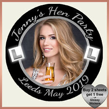 Personalised Hen Night Party Photo Stickers ANY COLOURS