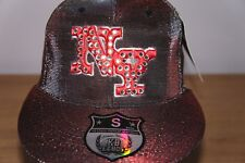 TWO TONE FLAT PEAK CAP, NY FITTED HAT RED/GREY URBAN