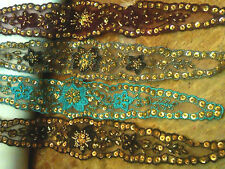 """Embroidered on Sheer Sequins Beads 1 piece 12"""" Headband Hats Hand Sewn"""