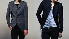Stylish Men's 2 Button Slim Fit Jacket/Suit Black/Grey