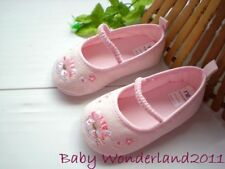 New Mothercare Girls Pink Embroidered Baby Shoes