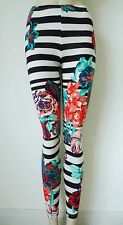50s Retro Floral Striped Leggings, UK 8/10/12/14