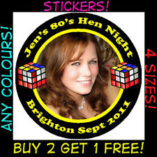 Personalised 80's RUBIX CUBE Stickers Hen Party Neon