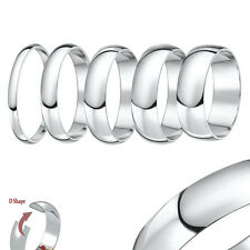 New 9ct White Gold Heavy D Shaped Wedding Ring Band