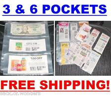 ( 20 ) Coupon binder sleeves pages holder 3 & 6 Pockets