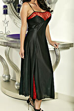 Sexy Tapered Fit Tricot   Red Crinkle Lace Plus Size Gown   Long Nightie #FRTLN