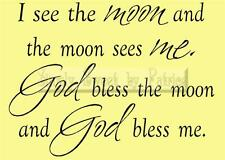 I SEE THE MOON Vinyl Wall Saying Lettering Quote Art Decoration Decal Sign