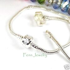 Silver Plated European Charm Bracelet Snake Chain Add a Bead fit European Bead