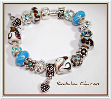 EUROPEAN STYLE silver CHARM BEAD BRACELET   blue and brown