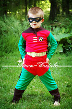 Halloween Children Costume Robin Outfit Set Dress Up Party Kid Clothing 2-7Year