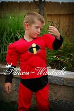 XMAS Christmas Gift Muscle Incredibles Outfit Boy Kid Party Costume Present 2-7Y