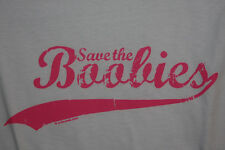 """Save the Boobies"" Breast Cancer Women's White Fitted T-Shirt"