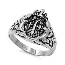 316L Stainless Steel Casting Ring with Cross  - Sz.8-14