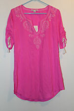 BANANA REPUBLIC SILK EMBROIDERED TUNIC Top Size X-Small, Medium NWT Pink Color