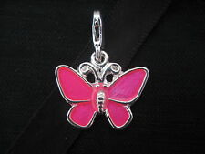 Clip On Silver Plated Butterfly with Pink Enamel Charm CLEARANCE NLA