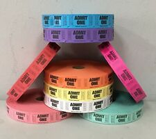 1 Roll of Admit One Tickets 2000 each Carnival Fun Fair Festival 8 Colors Raffle