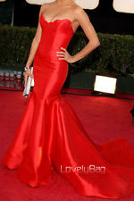 Hot Red Celebrity Designer Mermaid Satin Strapless Train Prom Gown Evening Dress