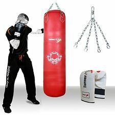 TurnerMAX Kick Boxing Punch bag Punching Training Martial Art Red Leather MMA