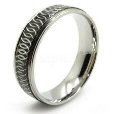 Men's black silver net party ring stainless steel stunning PUNK