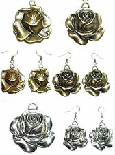 Vintage style bronze / silver rose earrings / necklace